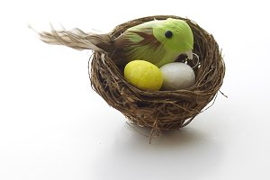 Easter Decoration on gray background