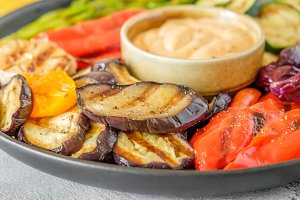 Grilled vegetables on a plate