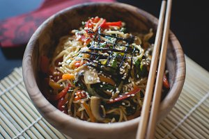 Noodles in a wooden bowl