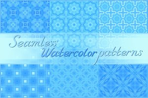 20 blue seamless watercolor textures