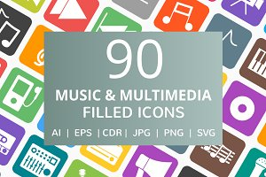 90 Music & Multimedia Filled Icons