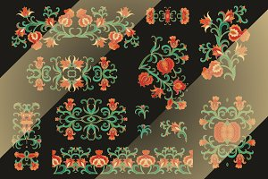 Set of vignettes with pomegranates