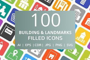 100 Building & Landmarks Filled Icon