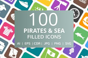 100 Pirate & Sea Filled Icons