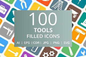 100 Tools Filled Round Corner Icons
