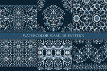 Set of  watercolor seamless patterns