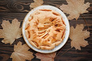 Tasty homemade season apple pie surr