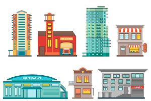 City Buildings Icon Set