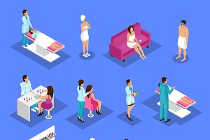 Isometric People And Cosmetology Set