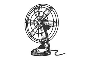Old table fan engraving vector