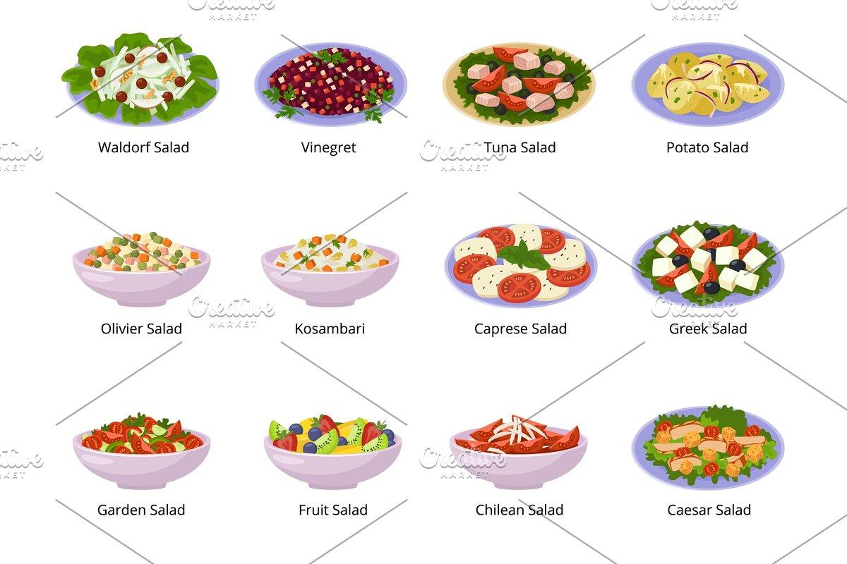 Salad Vector Healthy Food With Fresh