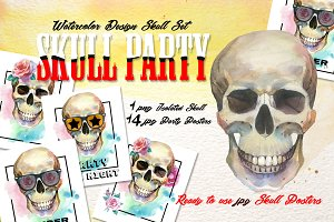 Skull party print PNG watercolor set