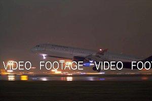 Night view of Aeroflot plane take