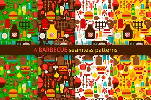 Barbecue Flat Seamless Patterns