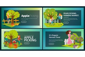 Apples pears plums picking flat set