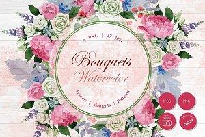 Wedding watercolor bouquets PNG set