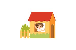 Cute little girl playing house, kid
