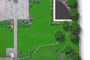 Entertaining backyard aerial view