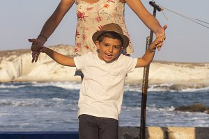Mother and son doing balance