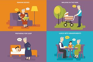 Family flat illustrations set #9