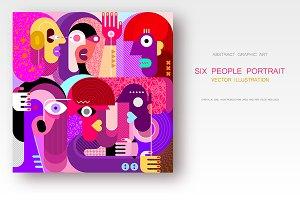 Six People Portrait vector artwork