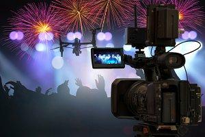 closeup Video Cameraman taking Conce