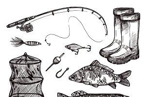 Fishing sketch set