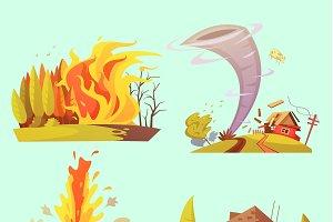 Natural disaster retro cartoon icons