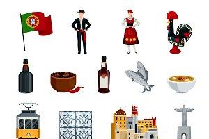 Flat design portugal icons set