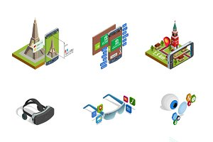 Augmented reality isometric icons