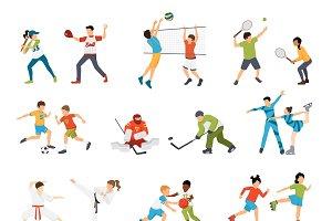 Kids sport flat icons set