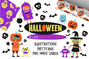Kids&monsters. Set of Halloween