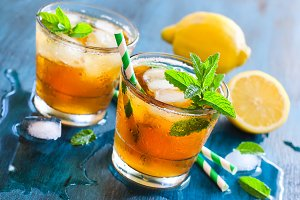 Iced tea refreshing summer drink
