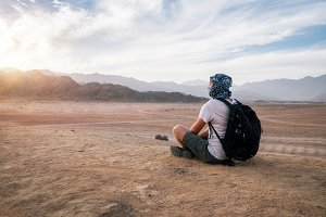 Traveler enjoys Sinai desert