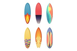 Surfboards set of different retro