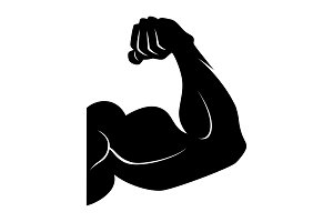 Power lifting symbol. Muscle arm