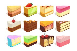 Cream cake slices pieces. Vector