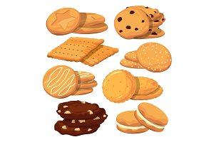 Different cookies in cartoon style