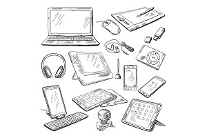 Different computer gadgets. Doodle