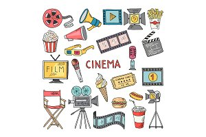 Movie entertainment vector icon set