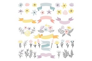 Floral vector decorative elements