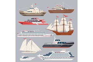 Set of different vessels. Sea boats