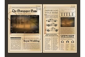 Layout design. Front page of vintage