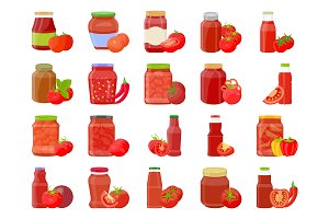 20 Tomato Sauce Vector Icons