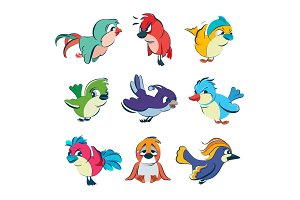Funny different birds. Vector