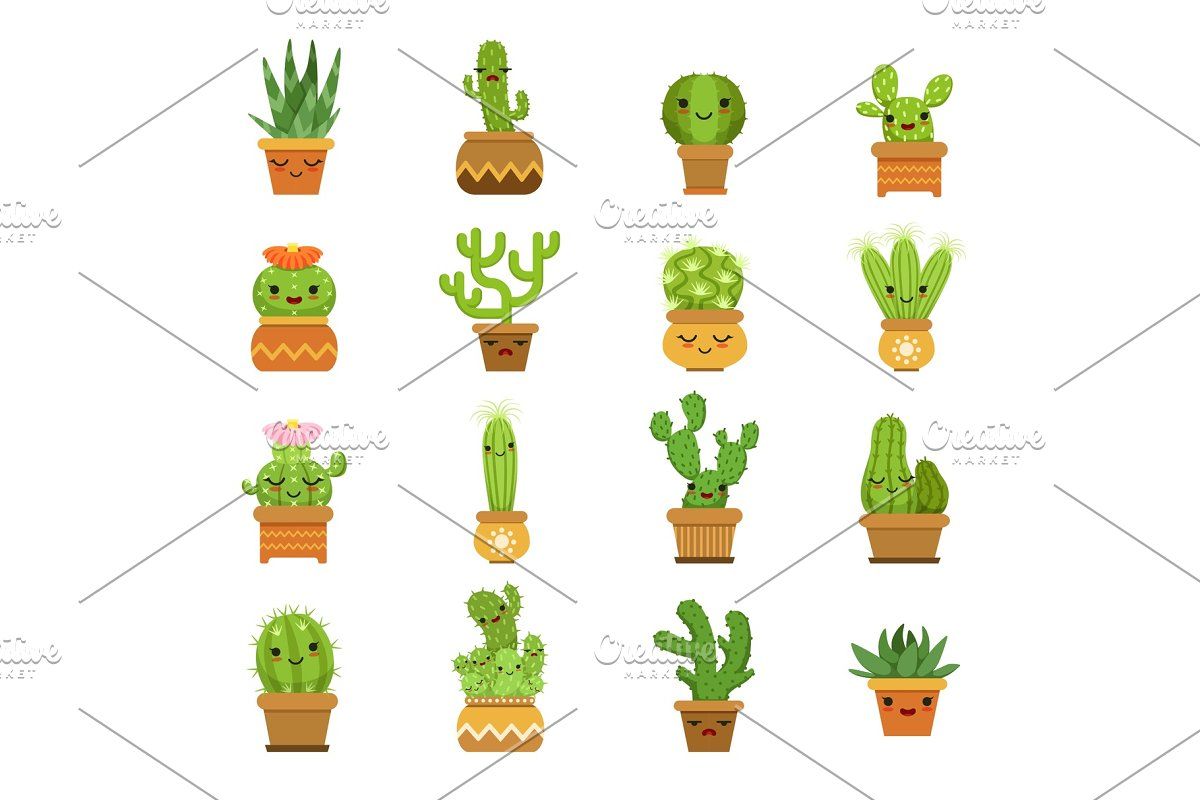 Cute Desert Plants Cactus In Pots Custom Designed Graphics
