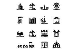Black icon set of amusement park