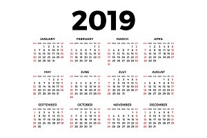 Calendar for 2019 on white