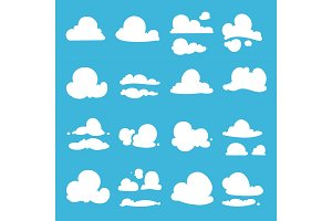 Different clouds in cartoon style