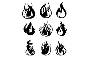 Monochrome symbols of flame. Vector